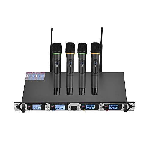 Muslady Micrófono Sistema 4 Canales UHF Inalámbrico 4 Micrófonos de Mano + 1 Receptor de Montaje en Bastidor D4 Profesional para Reunión de Negocios Discurso Público Aula Karaoke Enseñando