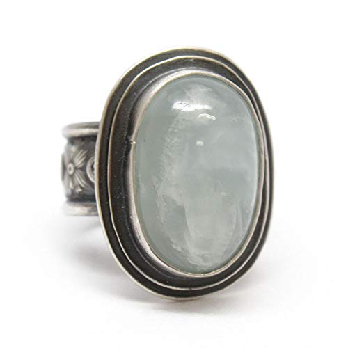 Genuine Dendritic Opal Ring 925 Sterling Silver Turkish Designer Ring Jewelry