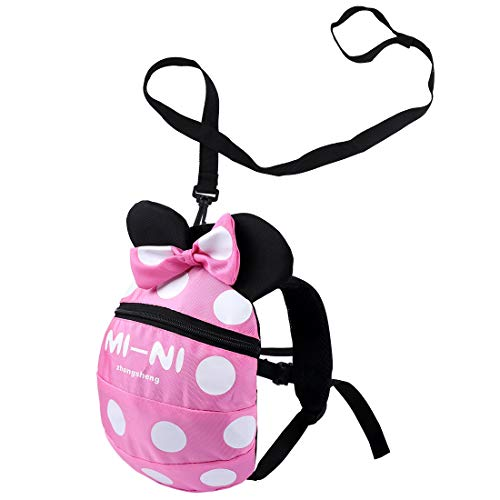 Baby Toddler Safety Harness Backpack Child Kids Cute Cartoon Strap Shoulder Backpack Bag with Reins Leash Rucksack Harness Walkers Tether Belt,for 1-5 Years Old Toddler. (Pink S-for 1-5 Years Old)