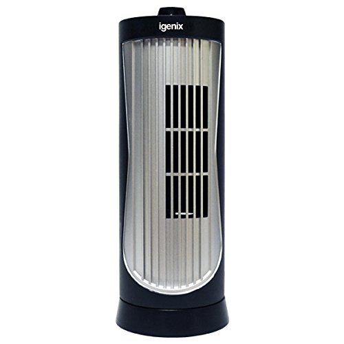 Igenix DF0020 Mini Tower Fan, 12 Inch, 2 Speed, Oscillating, Quiet Operation, Ideal for Desks or Bedside Tables, Home or Office Use, Black/Silver