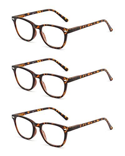 JM 3 Pack Platz Lesebrille Federscharnier Leser Damen Herren Brillen zum Lesen +2.75 Schildpatt
