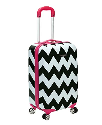 Rockland Safari Hardside Spinner Wheel Luggage, Pink Chevron