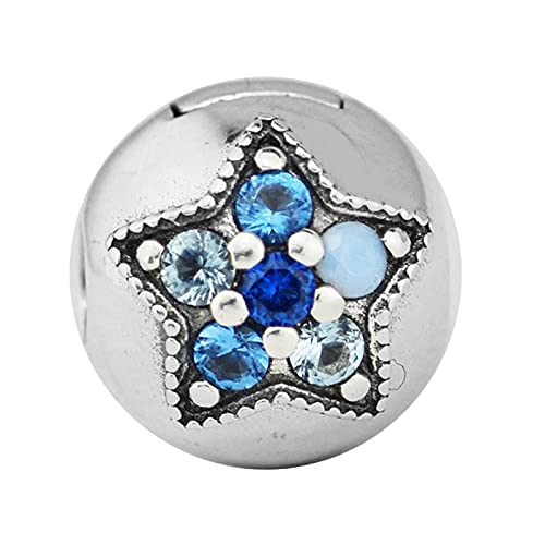 LIIHVYI Pandora Charms para Mujeres Cuentas Plata De Ley 925 Clip De Estrella Brillante De Bricolaje Compatible con Pulseras Europeos Collars