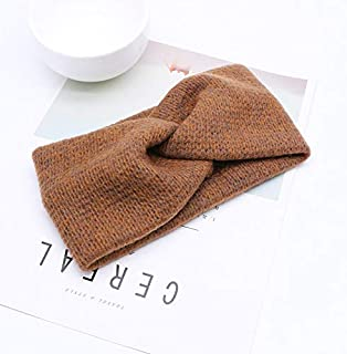 YJXUSHYQ Solid Color Cross Knot Women Winter Endoscope Warmer Elastic Wool Knitted Hair Band Girls Wide Hairband (Color : ...