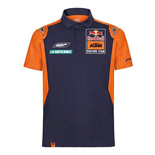 Red Bull KTM Official Teamline Camisa Polo, Azul Hombres X-Large Camiseta Manga Corta, KTM Racing Team Original Ropa & Accesorios