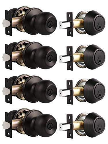 Probrico Oil Rubbed Bronze Door Knobs with Single Cylinder Deadbolts Exterior, keyed Alike Handleset Combo Pack, Lockset for Front Door and Outside Gate, Set of 4