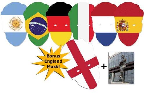 BundleZ-4-FanZ Fan Packs Weltmeisterschaft Fußball Bewerber Landesflagge Karte / Pappe Partei Maske Packung von 6 + Bonus England Flagge Maske - Enthält 6X4 (15X10Cm) starfoto