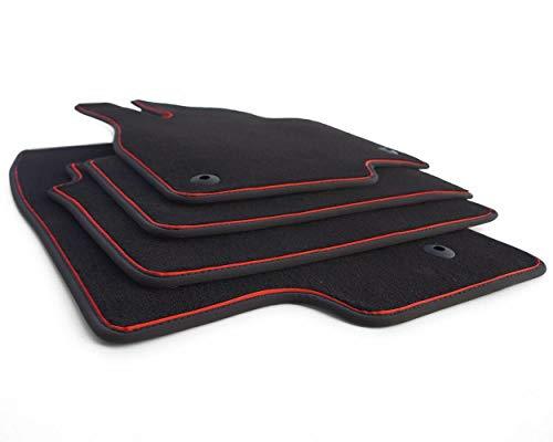 kh Teile Fußmatten Mazda III 3 (BM) ab 2013 Original Premium Qualität Velours Autoteppich 4-teilig, Zierband Rot