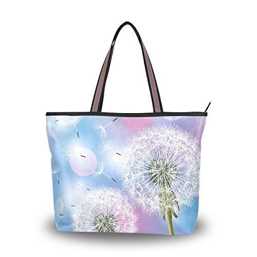 Ahomy Große Strandtasche Blumen Pusteblume Reisetasche Urlaub Einkaufstasche Handtaschen, Mehrfarbig - multi - Größe: Medium