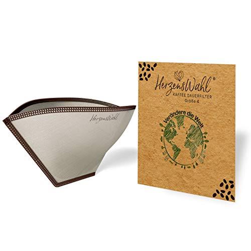 HerzensWahl® Kaffeefilter wiederverwendbar | Dauerkaffeefilter Edelstahl | Zero Waste Dauerfilter für Filterkaffee, Pour Over und Handfilter Kaffee | Permanent Kaffeefilter (Kaffeefilter Größe 4)