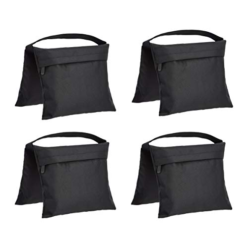 Amazon Basics - Bolsa de arena vacía, accesorio fotográfico para soportes de iluminación, paquete de 4