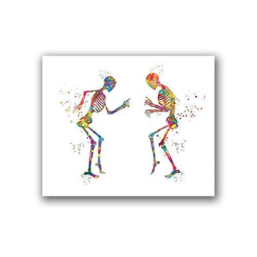 WQHLSH Anatomía humana Póster Bailar Esqueletos Divertidos Medicos Impresiones Ortopedista Regalo Acuarela Arte Lienzo Pintura Clínica Decoración de Pared 20x24inch Sin Marco