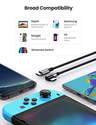 UGREEN USB C auf USB C Kabel 60W Winkelstecker 90 Grad Power Delivery USB C zu USB C Kabel 3A/20V kompatibel mit Galaxy S20, A71, Note20, Mi 10T, iPad Air 2020, iPad Pro 2020, XPS 13 usw. (3M)