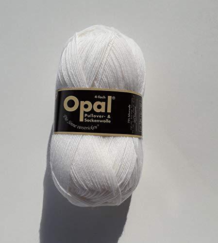 Opal uni 4-fach - 2620 weiß - 100g Sockenwolle