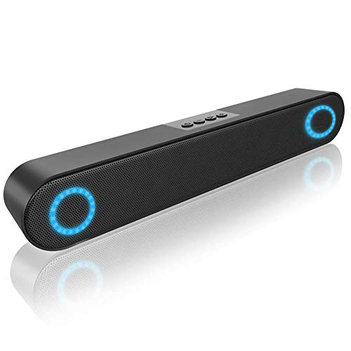 LENRUE Computer Speaker, PC Wired Desktop Sound Bar with LED Lights, Stereo Sound USB Powered for Desktop, Laptop, Mac, iMac, Tablets and More (Off White)