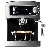 Cecotec Cafetera Express Manual Power Espresso 20. 850W, Presión 20 Bares, Depósito de 1,5L, Brazo Doble Salida, Vaporizador, Superficie Calientatazas, Acabados en Acero Inoxidable