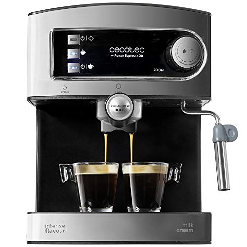 Cecotec Machine à café Expresso Power Espresso 20. 20 bars de Pression, Réservoir d'1.5 L, Bras Double Sortie, Buse vapeur, Plateau Réchauffe-tasses, Finitions en Acier Inoxydable, 850 W.