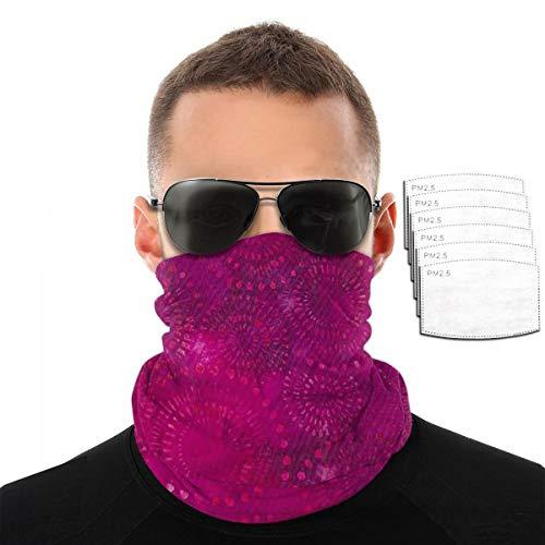 Hot Pink Purple Bohemian Batik Pattern Unisex Microfiber Face Mask Headband Bandana Head Wrap Scarf Neck Warmer Headwear Balaclava for Sports