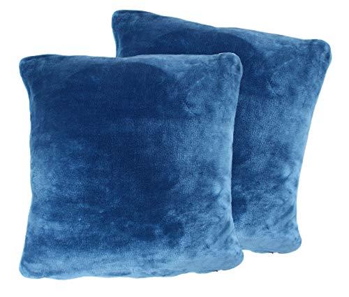 2er Pack Kuschelkissen Premium Cashmere Feeling Kissen 50x50 cm Flauschiges Sofakissen (blau)