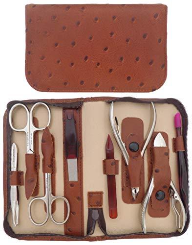 Set Manicure e Pedicure Professionale 8 Pezzi in Vera Pelle Nero Nappa con Cerniera - Tenartis Made in Italy