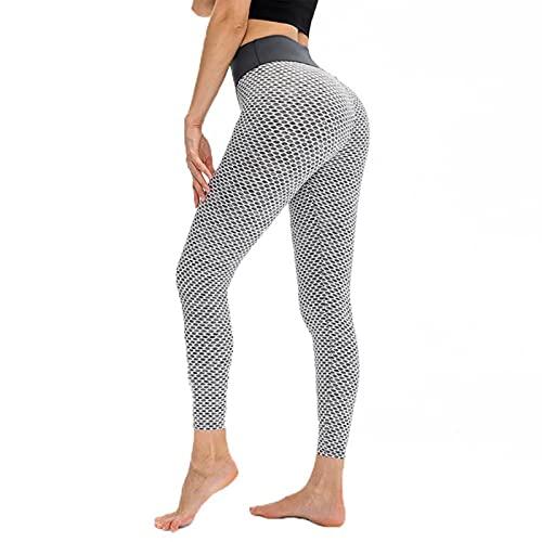 YCDZSW Leggins Mujer,Deporte Mallas Push Up Mujer Leggins Deportivos Yoga Leggings De Cintura Alta Pantalones Deporte para Fitness Running Elásticos Y Transpirables (Gris,M)