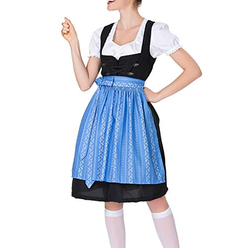 LOPILY Trachtenkleid Damen 3 TLG Dirndl Maxi Bayerische Trachtenmode für Oktoberfest Dirndl Komplettsets Trachtenbluse Trachtenschnürze Spitzen Stickerei Dirndl Mode Bierfest (Blau, DE-34/CN-S)