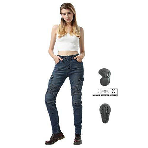 TIUTIU Motorrad-Jeans Für Damen, Army Green Freizeithose, Bruchsichere Rennhose Mit 4 Abnehmbaren Schutzpolstern (Blue,XS)