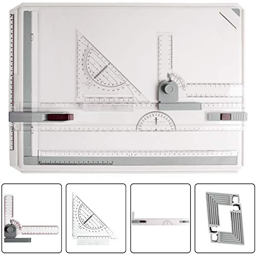 JILoffice A3 Drawing Board, Lightweight Multi-Funtion Drafting Table with Adjustable Measuring System Angle