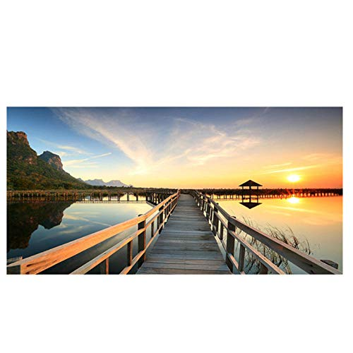Lcgbw Zonsondergangen Brug Houten Lake Landschap Posters en Prints Canvas Schilderen Beeld Muur Kunstfoto voor Woonkamer 30x60cm Doek + Frame