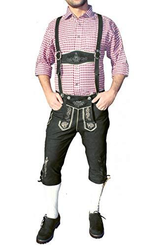 Trachten Lederhose Genoux Pantalon Velours avec Bretelles Pantalon en Cuir de chèvre Noir - Noir - 60