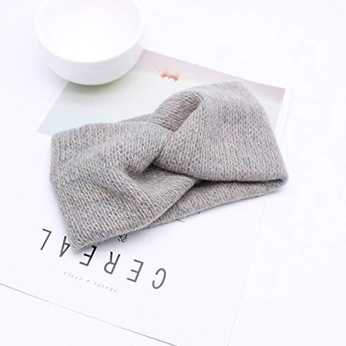 Bandas elásticas para el pelo con cruz de lana y nudos cruzados, para mujeres y niñas, color gris