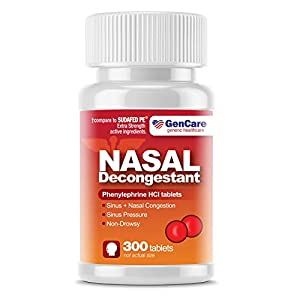 GenCare - Nasal Decongestant (10mg Tablets) Phenylephrine HCl (300 Tablets Per Bottle) | Value Pack Non Drowsy Sinus and Nasal Congestion Relief | Lower Sinus Pressure Due to Allergies or Illness