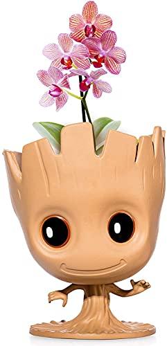 JILYEMOY Maceta con diseño de «I Am Groot» para decoración de plantas, también se puede utilizar como soporte para bolígrafos, contenedor de almacenamiento o para crecer plantas de interior
