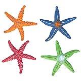 Zerodis Modelo de Estrella de mar de Juguete 4 Piezas simulación de Animales Marinos Modelo Educativo niños Juguete de Goma Figuras de Criaturas Marinas para decoración Acuario pecera(4 Piezas)
