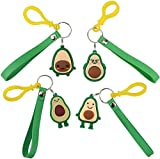 [4-Pack]OOTSR Soft Resin Keychain PVC Fruit Smiling Avocado Keychain For Student Bag Women Fashion Handbag Purse Wallet Keyring Car keys Pendant Party Small Gifts