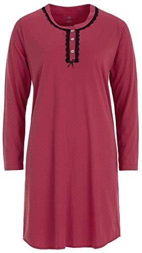 Zeitlos - Damen Nachthemd Schlafshirt Spitze Pünktchen Schleife Langarm Knopfleiste, Farbe:Beere, Größe:2XL