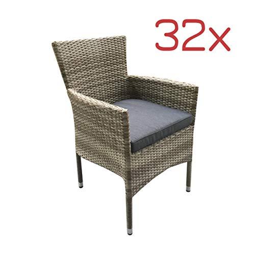LC Garden 32x Poly Rattan Bistrostühle Gastrostühle Stapelstühle Terrassenstühle stapelbare Sessel Natur grau