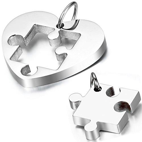 OIDEA Collana per Coppia Lovers Collana in Acciaio Inox con Pendente Puzzle Cuore Regalo per Amante Argento(1 Coppia)