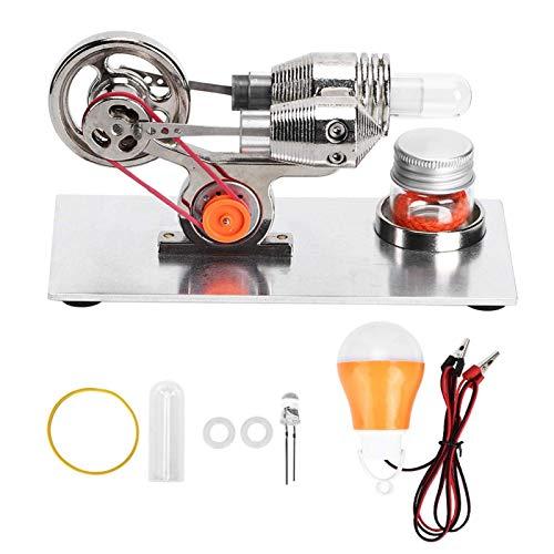 Mini motor Stirling plateado, modelo de motor de motor Stirling de aire caliente LED colorido, kits de juguete con generador de electricidad para enseñar y coleccionar