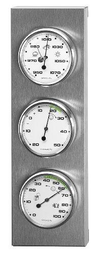 Sunartis 3-4013 THB197 Wetterstation aus Edelstahl mit Barometer, Hygrometer und Thermometer