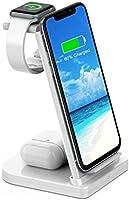 ワイヤレス充電器 3in1充電器 急速充電 充電スタンド 置き型充電器 ワイヤレスチャージャー QI認証済み 5W/7.5W/10W出力 iPhone/Watch/Airpods その他Qi対応機種適用 家族用