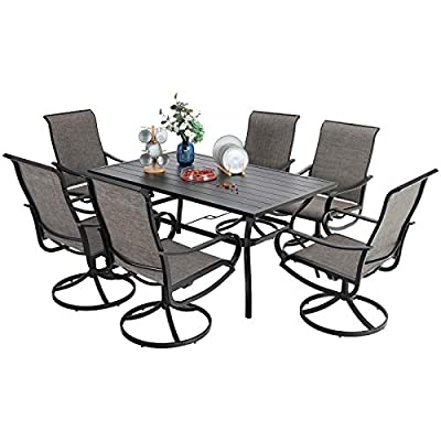 "PHI VILLA Patio Dining Set 7 Piece, 6 Person Outdoor Table and Chairs with 6 Swivel Patio Chair & 60"" x 38"" Rectangular Large Metal Dining Table(1.57"" Umbrella Hole)"