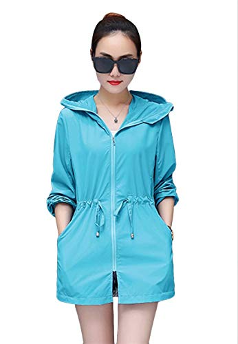 TYQQU レディース ラッシュガード パーカー UVカット ランニングウェア 日焼け防止服 長袖シャツ 夏服 水着 紫外線対策 通気性 軽量 薄手 レイクブルー L
