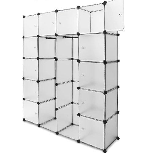 Regalsystem 12 Boxenfächer Steckregal Kleiderschrank DIY Garderobe Schuhregal Kunststoffboxen in transparent