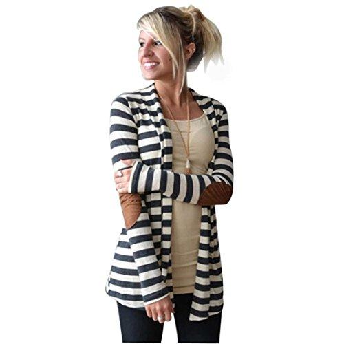 VEMOW Herbst Elegante Damen Frauen Casual Tägliche Lose Langarm Übergroßen Gestreiften Strickjacken Outdoors Patchwork Outwear Mantel(Weiß, 36 DE/S CN)
