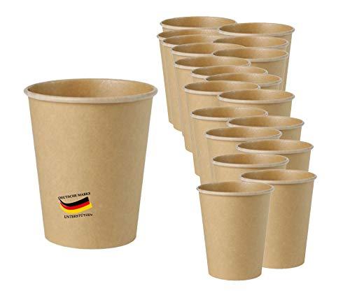 Bio Einweg Becher Einmalbecher 50Stück- 100ml -Wegwerfbecher Getränkebecher Papierbecher mit PLA Beschichtung Coffe to go Pappbecher braun ungebleicht (100ml / 4oz (50Stück))