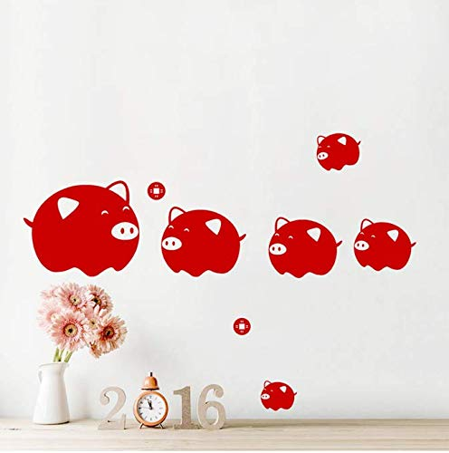 Gelukkig dier rood varken muursticker wooncultuur woonkamer raam glas decoratie pvc sticker wandafbeelding DIY wand 22 *  48 cm