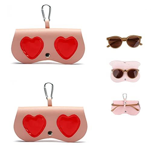 GOUDANER Sonnenbrillenetuis Damen,Stilvoller Einsteck Brillenhalter,Brillenetui Zum AufhäNgen FüR Handtasche,Niedliche Taschenclip-Brillen-Leder-Etui, Leichte Weiche Brillentasche 2pcs C