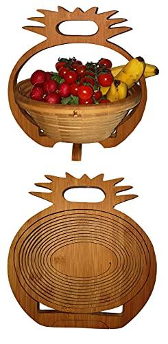 Panier Pliant Ananas Bambou,Belle 30 X 30 cm de Meubles en Bambou Bois Bol Rond 3D Corbeille Fruits à Dekoschale Pliable Légume Fruits,Idéal Également comme dessous Plats pour Pots,Poêles Etc. par la