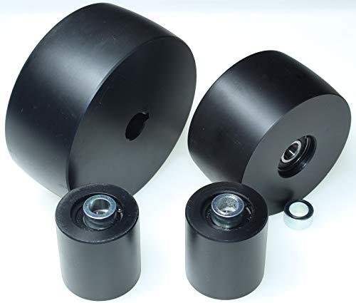 (NY5-19) Juego de ruedas de amoladora de correa para amoladoras de cuchillos de 5 pulgadas, eje de 19 mm, eje de 4 pulgadas, pista de 2 pulgadas, tensor mecanizado CNC